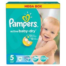 Pampers - Active Baby 111 Nappies - Size 5 Mega Pack