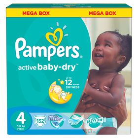 Pampers - Active Baby 132 Nappies - Size 4 Mega Pack