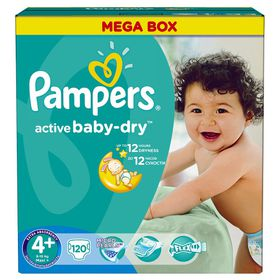 Pampers - Active Baby 120 Nappies - Size 4+ Mega Pack