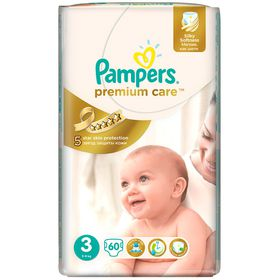 Pampers - Premium Care 60 Nappies - Size 3 Value Pack