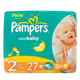 Pampers - New Baby 27 Nappies - Size 2 Regular Pack