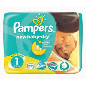 Pampers - New Baby 27 Nappies - Size 1 Carry Pack