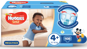 Huggies - Gold Boys - Size 4+ - 108 Nappies
