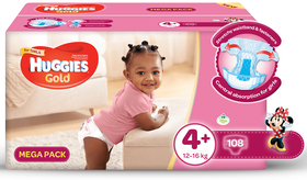 Huggies - Gold Girl - Size 4+  - 108 Nappies