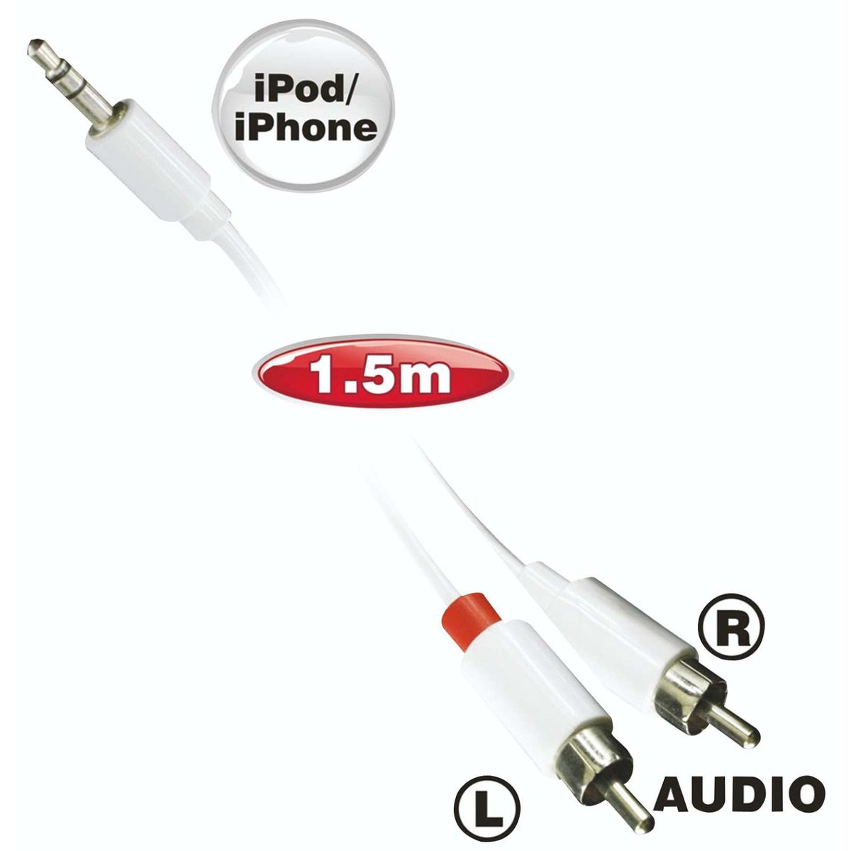 ellies ipod iphone stereo cable 2rca buy online in south africa. Black Bedroom Furniture Sets. Home Design Ideas