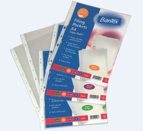 Bantex 'Copy-Safe' Multi-Punched A4 P.P Filing Pockets - 80micron (100 p/p)