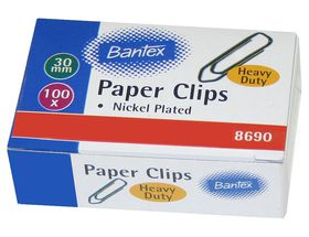 Bantex Paper Clips - 30mm Nickel Plated (100's)
