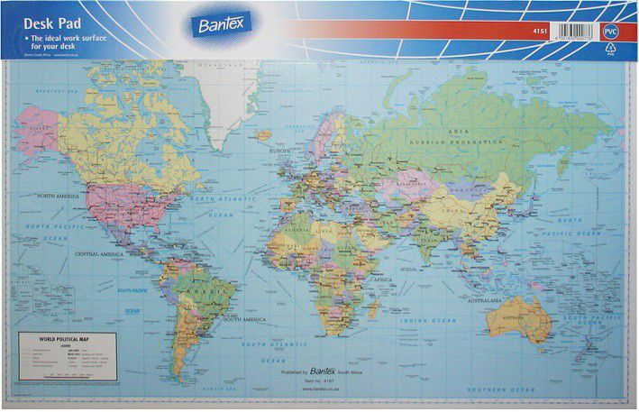 Bantex desk pad world map political buy online in south africa bantex desk pad world map political loading zoom gumiabroncs Image collections