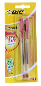 BIC Crystal Medium Xtra Life Ballpoint Pens - Red (Blister of 2)