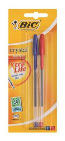 BIC Crystal Medium Xtra Life Ballpoint Pens - Blue & Red (Blister of 2)