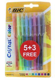 BIC Cristal Color Medium Ballpoint Pens - Assorted (Blister 5+3)