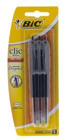 BIC Clic Medium Ballpoint Pens - Black (Blister of 3)