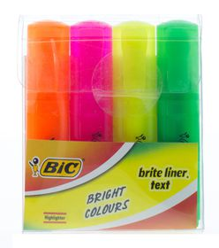 BIC Brite Liner Text Highlighters (Wallet of 4)