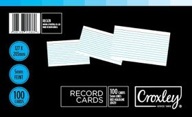 Croxley JD639 Record Cards - Lined (Pack of 100)
