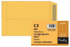 Croxley C3 Golden Brown Gummed Unbanded (Stongbow) Plain Pockets (Box of 250)