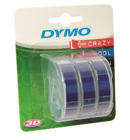 Dymo Embossing Tape 9mm x 3m Blue (Blister of 3)