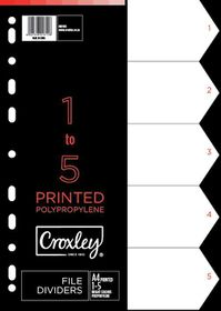 Croxley Indices Printed 1 - 5 Dividers set