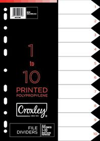 Croxley Indices Printed 1 - 10 Dividers set