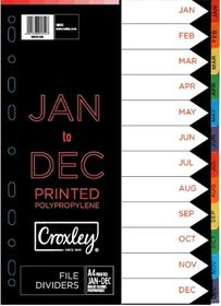 Croxley Indices Printed Jan - Dec Set
