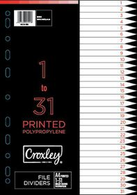 Croxley Indices Printed 1 - 31 Dividers Set