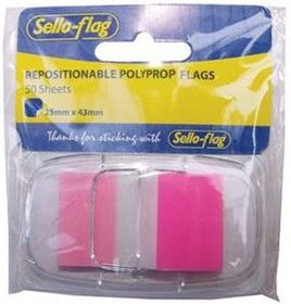 Sello-Flag Repositionable PP Flags - Pink (50 Sheets)