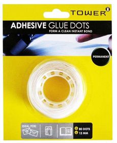 Tower Adhesive Dots Permanent - Clear (12mm)