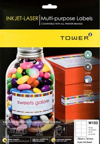Tower W103 Multi Purpose Inkjet-Laser Labels - Pack of 25 Sheets