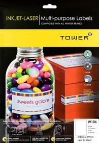 Tower W106 Multi Purpose Inkjet-Laser Labels - Pack of 25 Sheets
