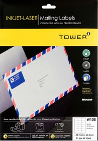 Tower W108 Mailing Inkjet-Laser Labels - Pack of 25 Sheets
