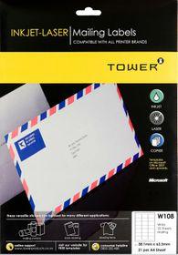 Tower W108 Mailing Inkjet-Laser Labels - Pack of 25 Sheets