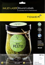 Tower W116 Round Inkjet-Laser Labels - Pack of 25 Sheets