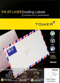 Tower W101 Mailing Inkjet-Laser Labels - Box of 100 Sheets