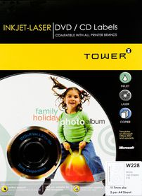 Tower W228 Inkjet-Laser DVD/CD Labels - Box of 100 Sheets