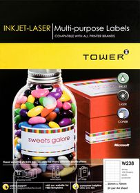 Tower W238 Multi-purpose Inkjet-Laser Labels - Box of 100 Sheets