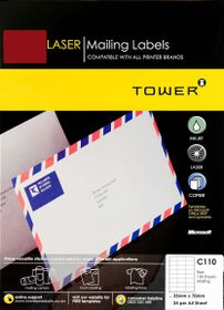 Tower C110 A4 Laser Mailing Labels (Red) - Box of 100 Sheets