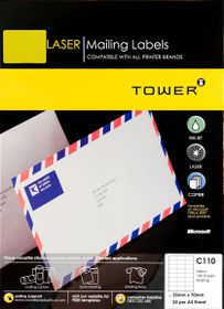 Tower C110 A4 Laser Mailing Labels (Yellow) - Box of 100 Sheets
