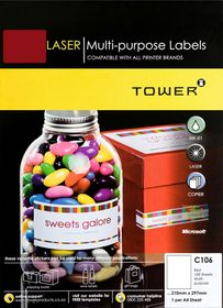 Tower C106 A4 Laser Multi Purpose Labels (Red) - Box of 100 Sheets
