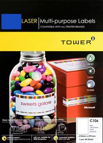 Tower C106 A4 Laser Multi Purpose Labels (Blue) - Box of 100 Sheets
