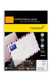 Tower C110 A4 Laser Mailing Labels (Fluo Orange) - Box of 100 Sheets