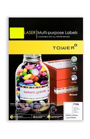Tower C106 A4 Laser Multi Purpose Labels (Fluo Lime) - Box of 100 Sheets