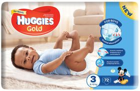 Huggies - Gold Boy - Size 3 - 72 Nappies (6-10kg)