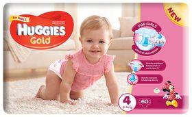 Huggies - Gold Girl - Size: 4 - 60 Per Pack (8-14kg)