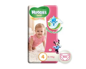 Huggies - Gold Girl - Size: 4 - 60 Per Pack (8-14kg)