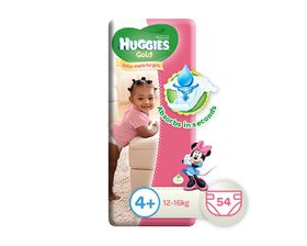 Huggies - Gold Girl- Size: 4 - 54 Per Pack (12-16kg)