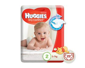 Huggies - Dry Comfort, Size 2 x 22 Nappies (5-7kg)