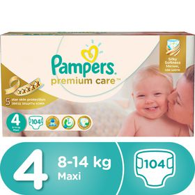 Pampers - Premium Care 104 Nappies - Size 4 Mega Pack