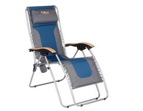 OZtrail - Deluxe Sun Lounger - Navy Blue and Grey