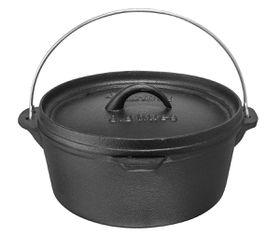 Afritrail - Cast Iron Flat Potjie Pot - Black