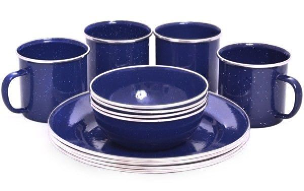 Exceptional Oztrail Enamel Dinner Set 12 Piece Blues Online In South