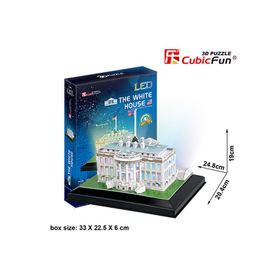 Cubic Fun White House USA - 56 Piece 3D Puzzle with Base & LED Unit
